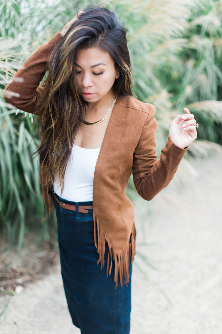 fringe jacket denim pencil skirt