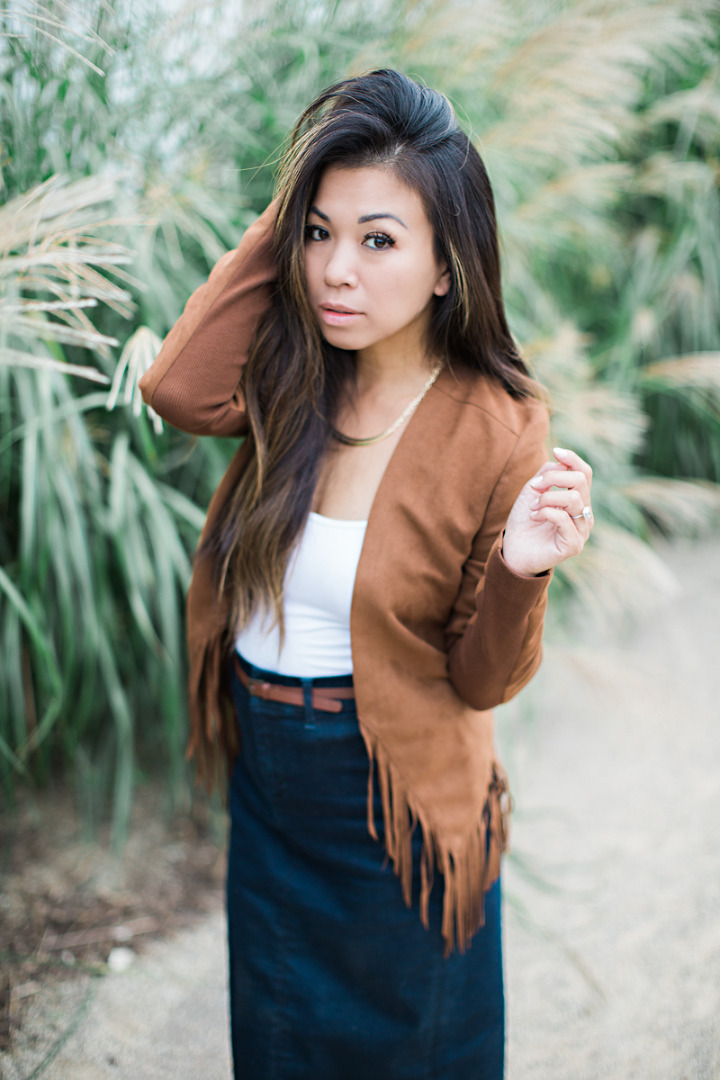 fringe jacket denim pencil skirt-3