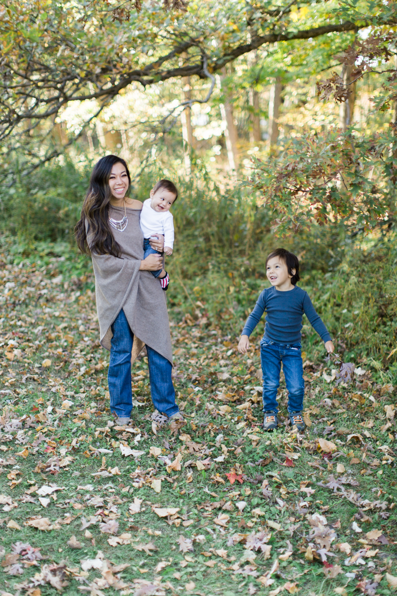 throwing fall leaves with kids toddlers