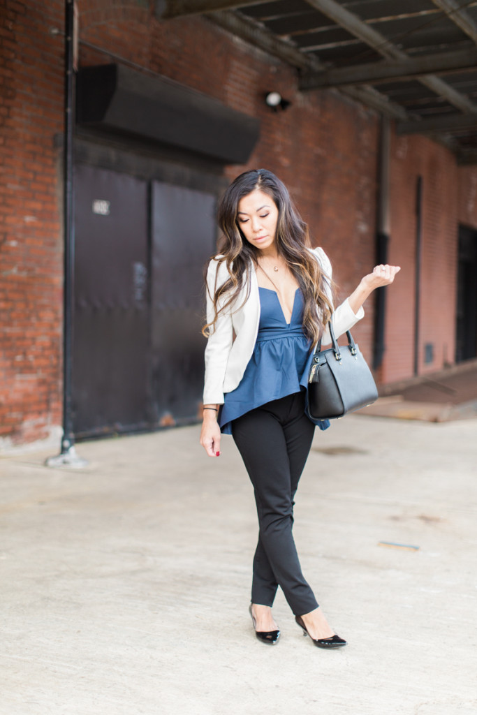 white blazer blue peplum top
