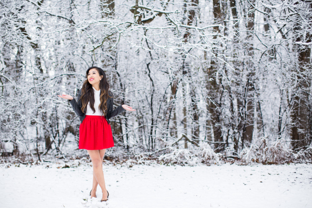 red skirt winter wonderland shoot session photography