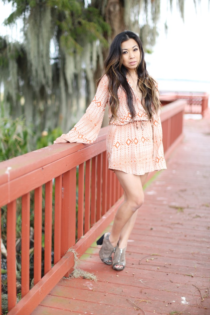 bell sleeve mini dress running down pier