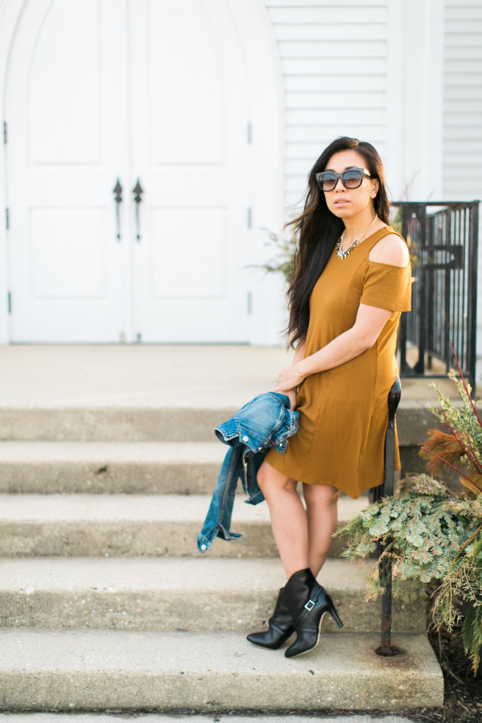 yellow cold shoulder dress