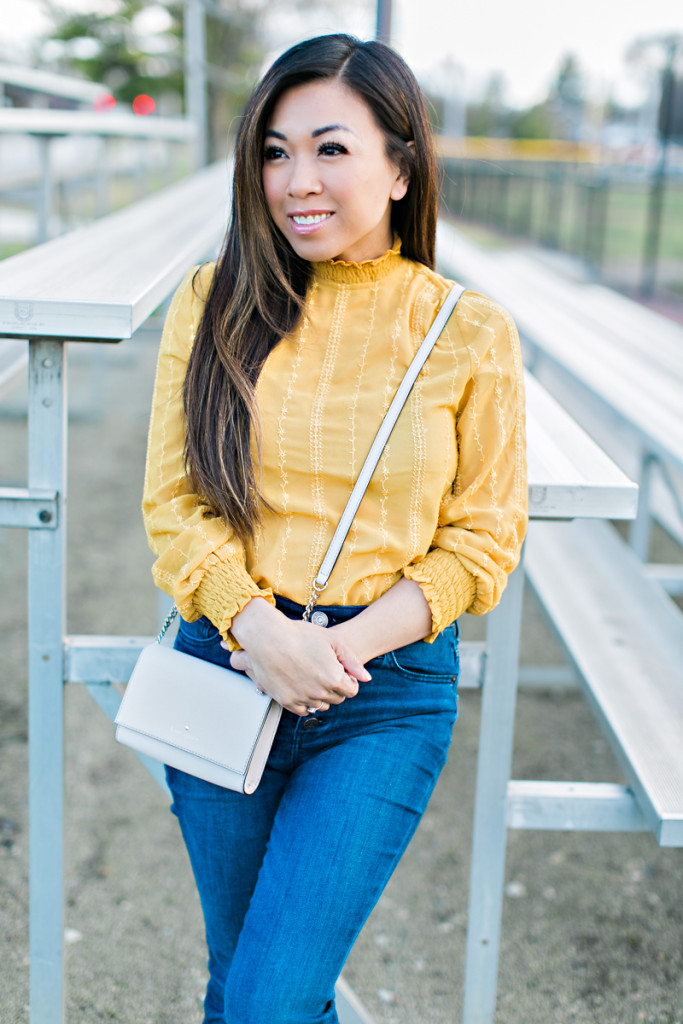 yellow turtleneck flared jeans