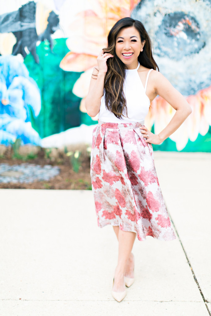 floral full skirt and white top
