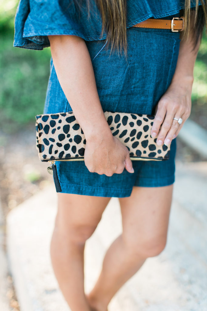 denim romper leopard clutch