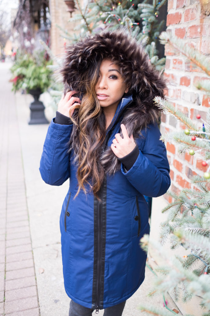 faux leather faux fur parka winter coat