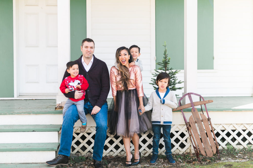 family Christmas holiday photo ideas outfit pickup truck